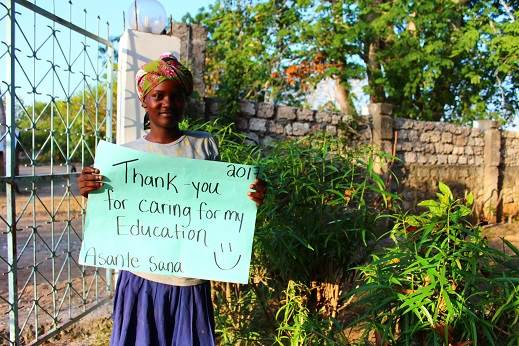 Mahenzo saying thank you for caring about her education! Newly sponsored for 2017